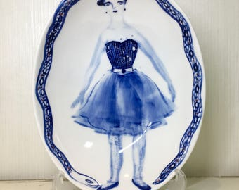 TuTu Skirt Girl Plate, Hand-painted ceramic bowl, Ceramic plate w/ Girl and Snake Print, Snake Print, Tutu Skirt, Unique plate