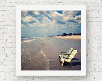 Beach wall art, beach themed decor, ocean print, bathroom art, coastal wall art, beach chair wall decor, Florida prints, square beach prints