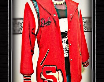 1980's Plus Brick Red Wool Women's Varsity Jacket, 80's Vintage Letterman Coat, Rockabilly Large XL, Rockabilly Vintage Letterman Jacket