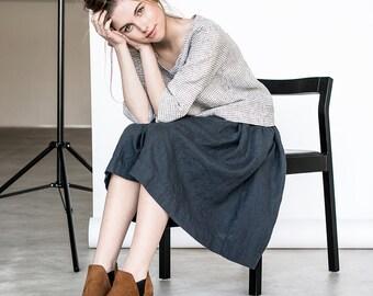 """Linen skirt """"1950s CITY"""" with deep pockets / A - line washed linen skirt in charcoal / Midi linen skirt / High waist linen skirt"""