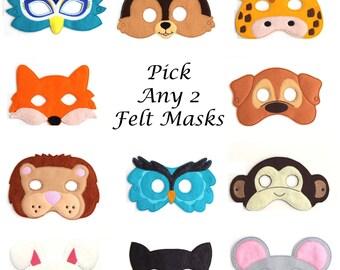 Pick Any 2 Kids Masks Kids Mask, Felt Mask, Kids Face Mask, Animal Mask, Halloween Costume, Pretend Play, Dress Up, Party Favors, Costume