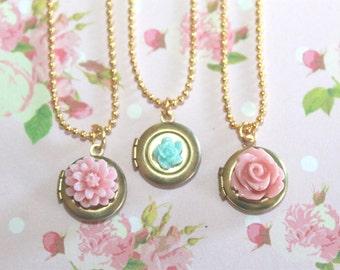 Girls Locket Necklace, Flower Girl Locket, Children Locket Necklace, Flower Locket, Birthday Gift!