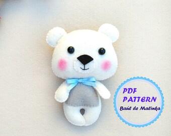 Felt Bear ornament pattern sewing tutorial PDF pattern toy Bear ornament DIY felt tutorial softie Bear sewing pattern woodland baby mobile