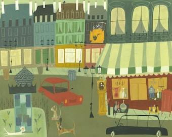Paris.  Limited edition print by Matte Stephens.