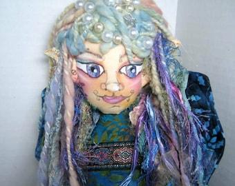Fairy Cloth Art Doll Bust, OOAK Cloth Doll Bust, Fairy Soft Sculpture Doll, Fantasy Goddess Shelf Sitter Doll,, Art Doll Gift