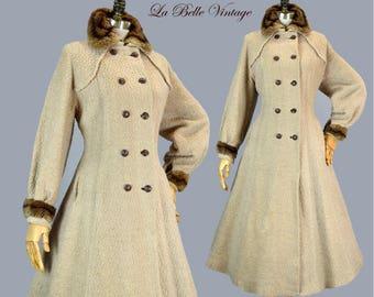 40s Princess Coat Vintage Poodle Wool Boucle ~ Full Length Swing Skirt