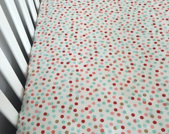 Coral and torquoise fitted crib sheet | polka dots crib sheet | gold dots crib sheet | mint, coral, gold crib sheet |