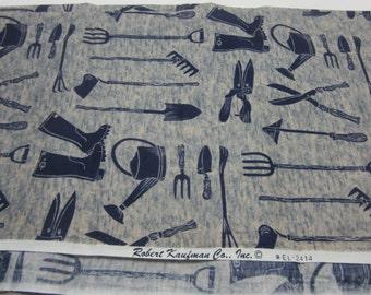 Garden Tools Navy Fabric-Robert Kaufman-1 yard+