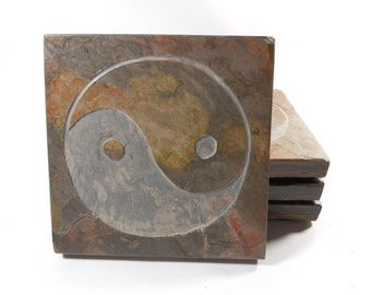 Zen Stone Coasters, Yin Yang Coasters Set, Etched Coasters, Yin Yang Decor, Carved Slate Inspirational Drink Coasters, Feng Shui Asian Decor