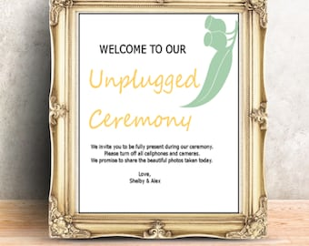 Wedding Welcome Sign Digital  printable sign personalized 300 DPI Unplugged Ceremony