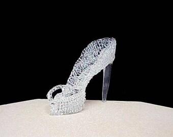 Cinderella glass slipper wedding cake topper.