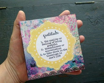 "SALE!  4x4"" Original Art Block, Original Collage, Original Mixed Media Art, 4x4x7/8"", Inspirational Art, Word of the Year - Gratitude"
