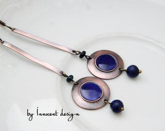 Minimal  - enamel earrings  - copper - gemstones - Ethnic - royal blue - ooak