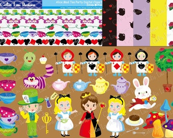 Alice Digital Clipart and Paper Set(CG007)/ Digital Clip art / INSTANT DOWNLOAD