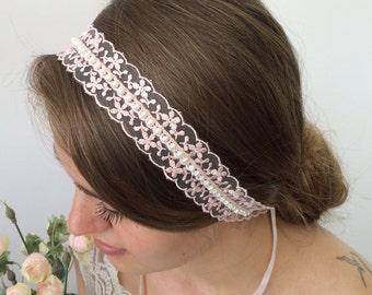 Bridal Headpiece, Dreamy Lace Headband, Wedding Hairwrap, Pearl Hair Jewelry, Fairytale Hairband, Embroidered Headband, Bridesmaid Headpiece