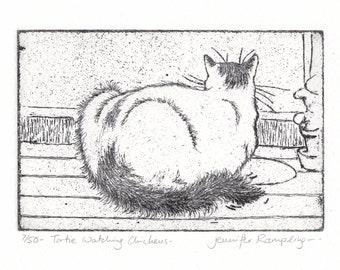 Cat Etching - 'Tortie Watching Chickens' by Jennifer Rampling