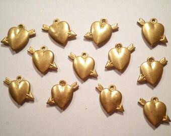 12 Vintage Brass Arrow in Heart Charms