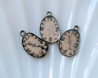3 Vintage Silver Tone Time Clock Charms