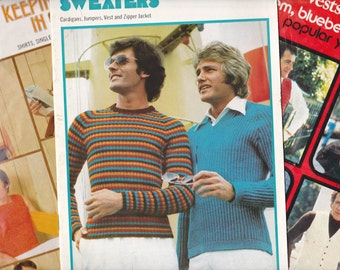 LOT of 3 Vintage 70s Mens Knitting & Crochet Patterns Booklets Patons 513 353 429 Vests Shirts Pullovers Sweaters Cardigans Tops