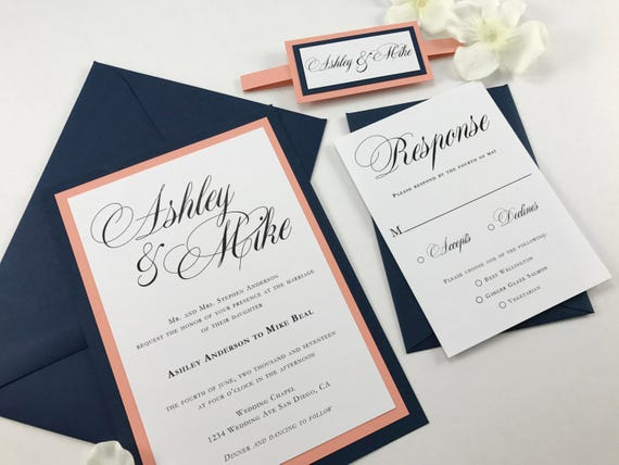 Coral and dark blue wedding invites navy and peach classic wedding invitations traditional elegant script font belly band and medallion