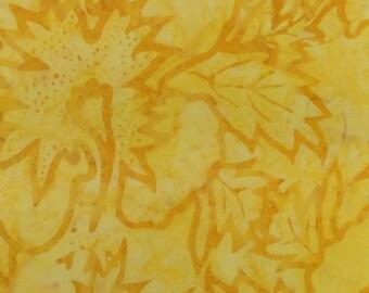 Yellow Wash Leaf Batik Fabric - Artisan Indonesian from Majestic Batiks - CB 426 Yellow, Priced by the 1/2 yard