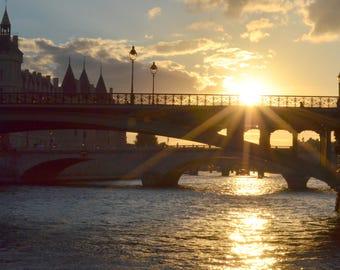 Bridges at Dusk, wall art, Paris, sunset, conciergerie Paris, River Seine, Paris photography, Paris art print, colour photo