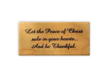 Peace of Christ mounted Christmas rubber stamp, religious sentiment, Christian, Sweet Grass Stamps No.19