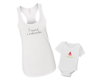 I Carried a Watermelon - Mommy & Me Baby Matching Shirt Set