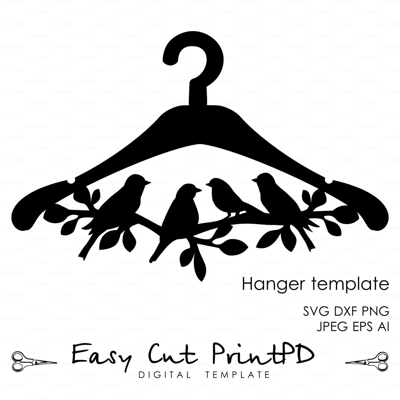 Hanger Bird Branch Die Cut wooden template File eps svg