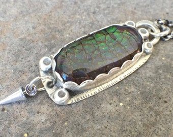 Sterling Silver Ammolite Bold Necklace