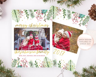 Christmas Card, Christmas Cards, Personalized Christmas Card, Printable Christmas Card, Christmas Card with Photo, Christmas Card Set [682]