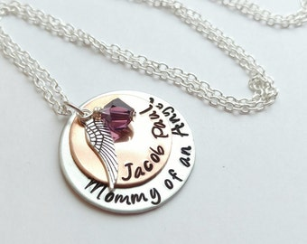 Mommy of an Angel Necklace Infant Child Loss Memorial Pregnancy Loss Miscarriage Stillborn OGPspEU