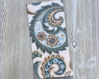 Tract Holder in Dusty Blue Paisley Cotton - Pocket for Invitations and Contact Cards and 8 Clear Pockets - jw tract holder - Ready to Ship
