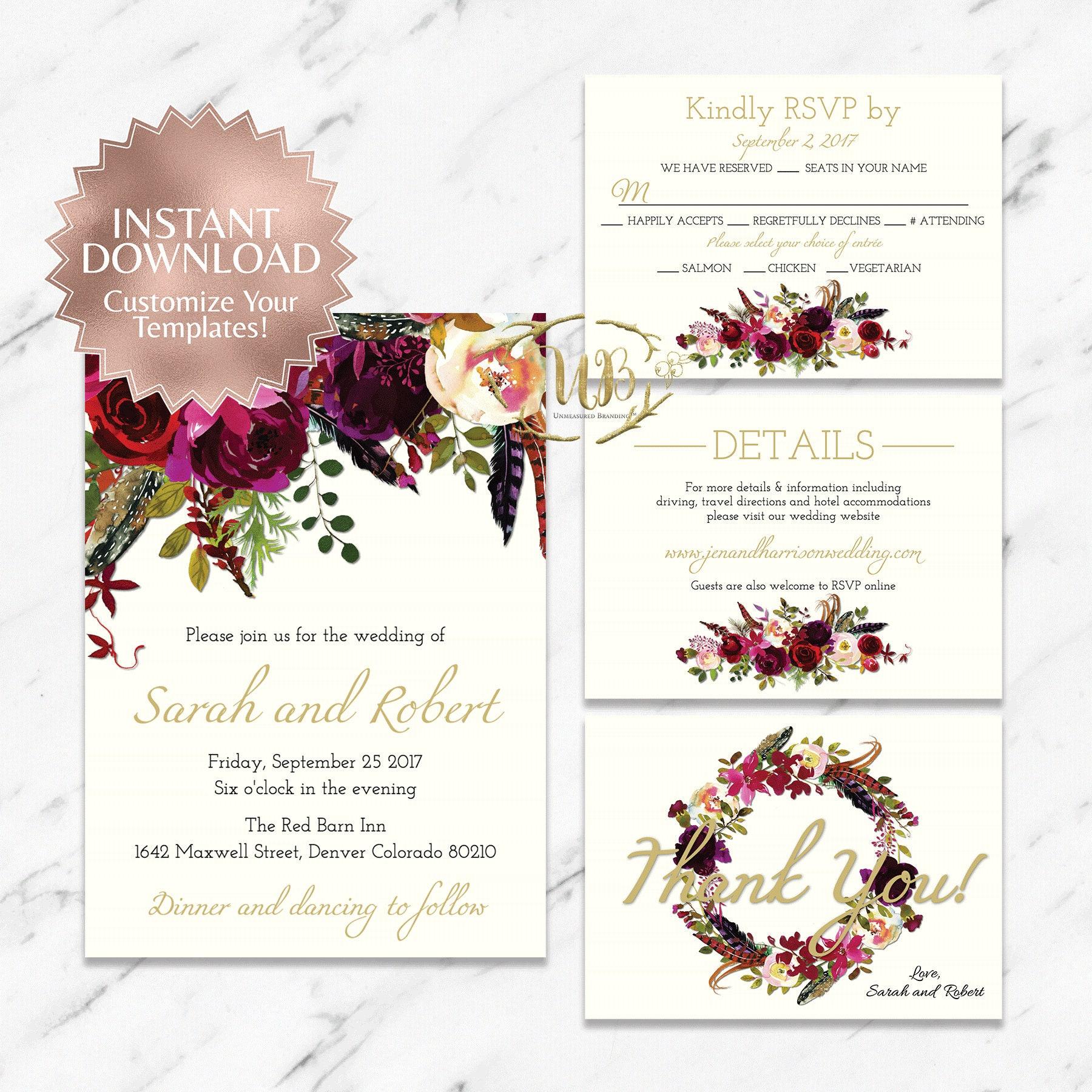 Marsala Burgundy and Cream Wedding Invitation Suite Templates