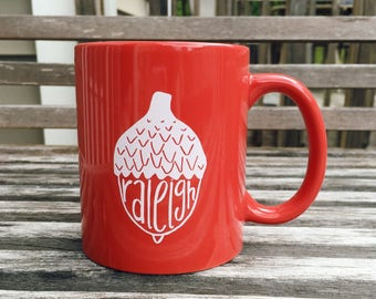 coffee mug - Raleigh Acorn coffee mug, red or purple