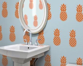 pineapple wall decal set, pineapple pattern vinyl art, tropical art, Hawaiian fruit art, FREE SHIPPING