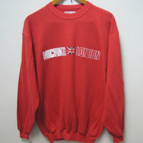 Vintage MICHIKO LONDON Classic Logo Medium Size Sweatshirt Embroidery Great Britain Flag Pullover Shirt Jacket Jumper Ia51O