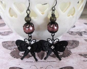 Black Butterfly Dangle Earrings