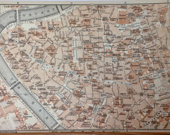 Italian Vintage Map 6x8.25 inches, 1928, Rome, Italy