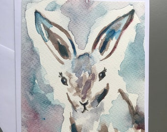 Watercolor card original painting free shipping bunny rabbit blank greeting card