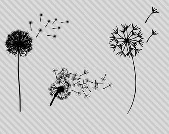 Dandelion svg bundle, dandelion silhouette svg, dandelion clipart, dxf, cut files for cricut and silhouette, png