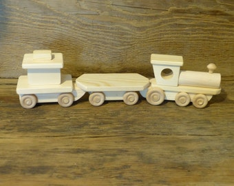 Handmade Wooden Toy Train Set Small Wood Toys Adirondack Railroad heirloom kids boys childs childrens birthday gift present