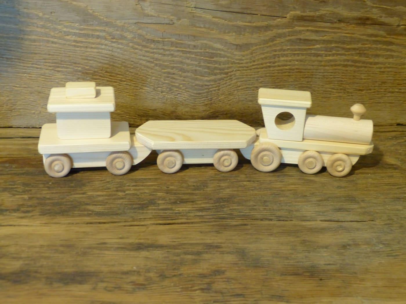 Handmade Wooden Toy Train Set Small Wood Toys Adirondack
