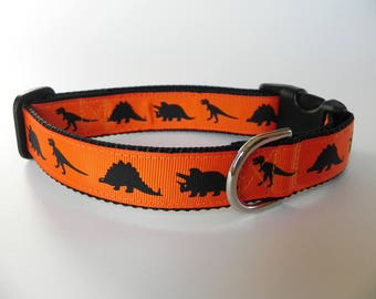 Orange Dinosaur Dog Collar