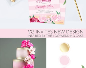 BRIDAL SHOWER INVITATION, Instant Download, Brunch and Bubbly, Bridal Shower, Invitation, Floral Party Invite, Pink Stripes Wedding Shower