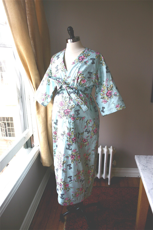 Maternity Robe. Kimono Hospital Robe. Kimono Hospital Gown.