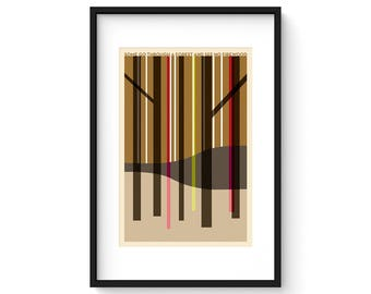 Some Go Through A Forest And See No Firewood - Giclee Print - Modernist Minimalist Illustration