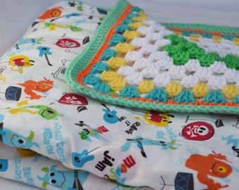 Monster Mash crochet baby blanket, granny square reversible crochet baby blanket