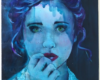 Moody and expressive modern portrait painting, Mixed Media with oil glazes on MDF board, dark blues and melancholy purple hues, art gallery