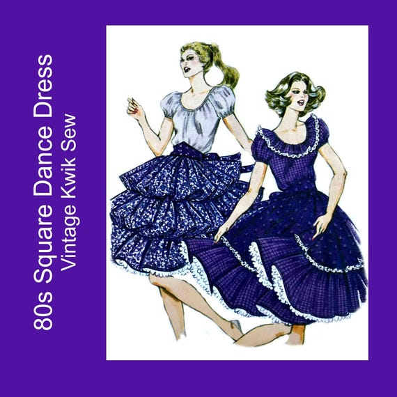 Vintage 80s Square Dance Dress sewing pattern, Ruffled Circle skirt ...